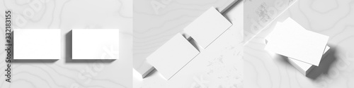 Cuadros en Lienzo Business card mock ups isolated on white marble background