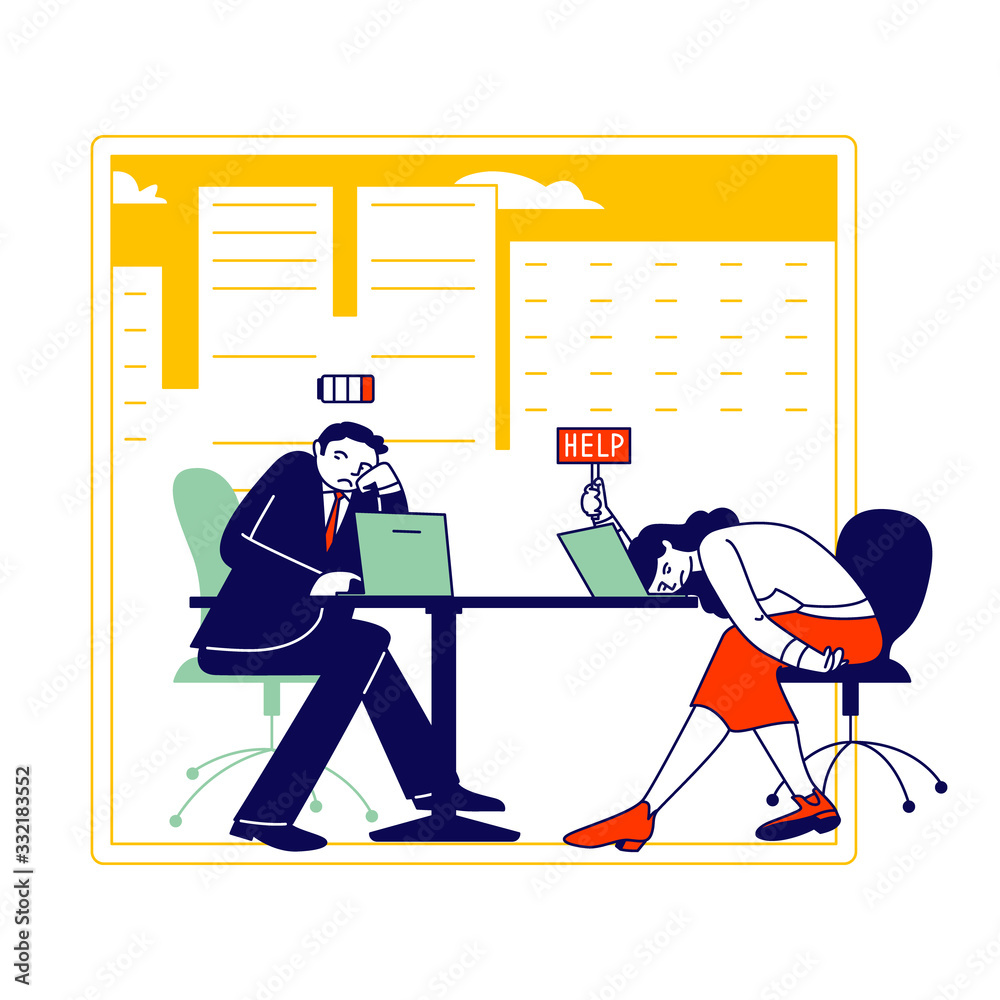 Fototapeta Hard Work Business Man and Woman with Low Battery Level Sitting at Working Place with Computer in Office Hold Sign Help. Tired Business People Characters Emotional Burnout. Linear Vector Illustration
