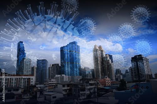 Fototapeta Coronavirus quarantine. City closed for quarantine with covid virus in the air 3D rendering obraz