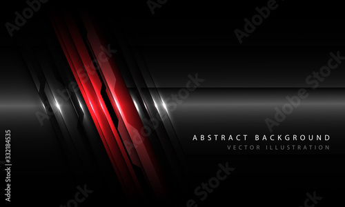Abstract red black metallic circuit line with blank space and simple text design modern futuristic technology background vector illustration Tablou Canvas
