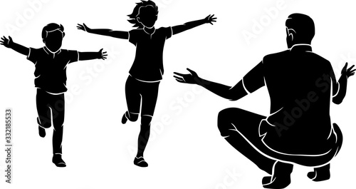 Photo Father Ready to Hug his Children, Silhouette Illustration