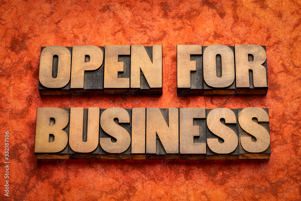 Fototapeta open for business word abstract in wood type