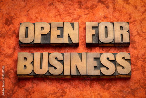 Obraz open for business word abstract in wood type - fototapety do salonu