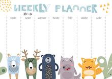 Weekly Planner With Scandinavian Animals In Doodle Cartoon Style. Kids Schedule Design Template. Vector Illustration.