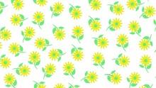 Yellow Green Flowers Falling Blossom Motion Illustration