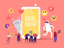 Viral Content Concept. Tiny Characters At Huge Mobile With Funny Unicorn And Cat. Social Media Blogging, Movie Streaming, Online Network Likes, Followers Attracting. Cartoon People Vector Illustration