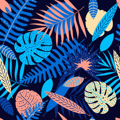 Panel Szklany 3D Palm, monstera leaves seamless pattern. Summer tropical leaf. Geometric backdrop. Exotic hawaiian jungle, summertime background in pastel colors