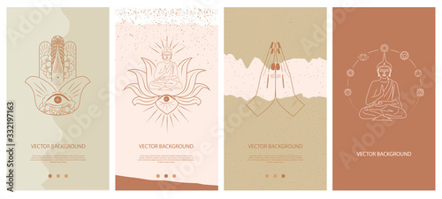 Foto Set of abstract vertical background with elements of buddhism and hinduism plants in one line style