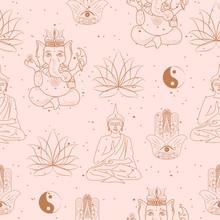 Seamless Pattern With Buddhism...