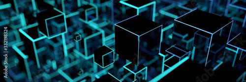 Leuchtende Würfel als moderner digitaler Hintergrund Fototapete
