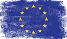 European Union Flag With Grunge Texture