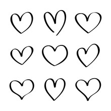 Heart Hand Drawn Icons Set Iso...