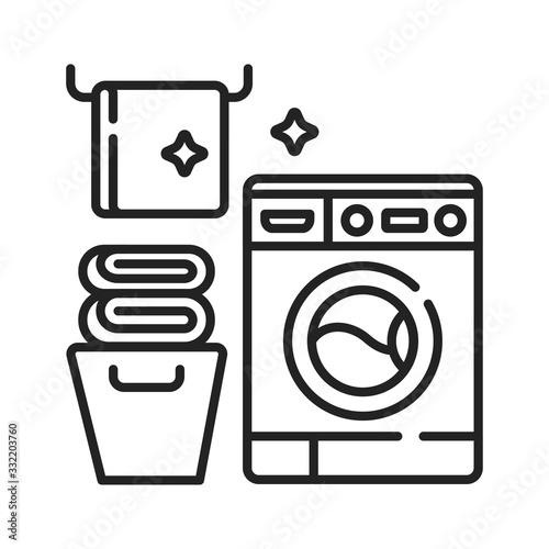 Laundry room black line icon Canvas Print