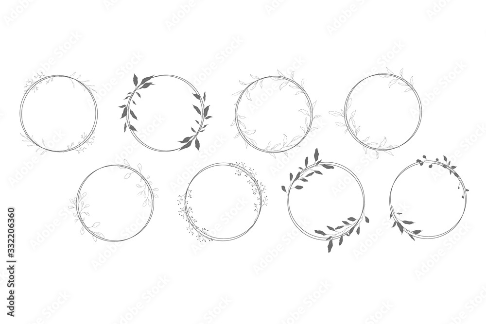 Fototapeta Botanical line art silhouette leaves wreath hand drawn pencil sketches isolated on white background. Fine art floral elegant graphic frame for wedding invitation card. Vector illustration