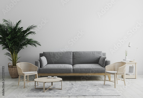 Obraz Modern interior of living room mock up in gray tones with gray sofa and wooden armchair, palm tree and coffee table, living room interior background, scandinavian style, living room mockup, 3d render - fototapety do salonu