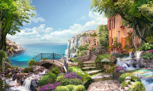 Do łazienki   beautiful-collage-with-access-to-the-sea-the-ancient-houses-of-italy-flowers-and-waterfalls-digital-collage-mural-and-fresco-wallpaper-poster-design-modular-panno
