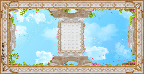 Do łazienki   ceiling-with-golden-patterns-pink-flowers-and-petals-digital-collage-mural-and-fresco-wallpaper-poster-design-modular-panno