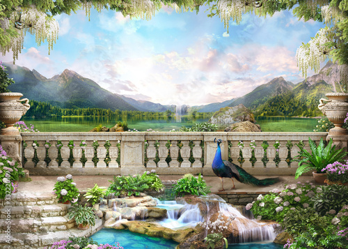 Obrazy do łazienki  beautiful-view-from-the-flower-covered-balcony-to-the-mountain-lake-and-pink-sunrise-digital