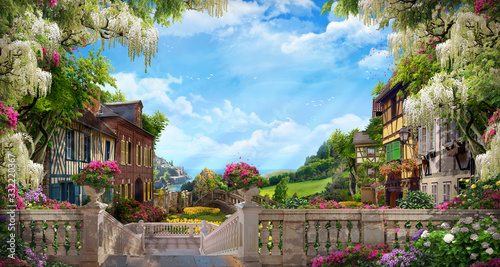 Photo Beautiful collage with access to the sea, the ancient houses of Italy, flowers and waterfalls