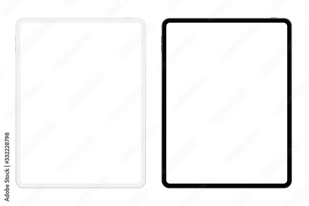 Fototapeta New version of black and white slim tablet with blank white screen. Tablets realistic vector illustration