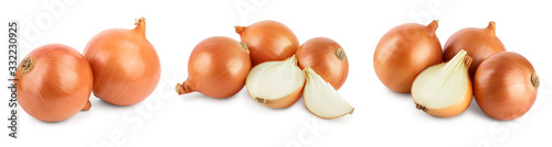 Obraz yellow onion isolated on white background close up. Set or collection - fototapety do salonu