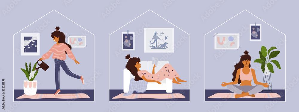 Fototapeta Stay home concept. Girl takes care for houseplants, reading book, doing yoga. Cozy modern scandinavian interior. Self isolation, quarantine due to coronavirus. Set of illustration of  home activities