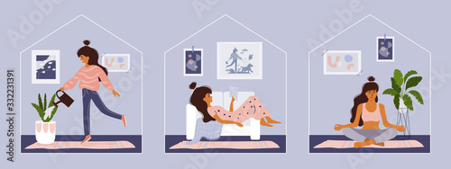 Fototapeta Stay home concept. Girl takes care for houseplants, reading book, doing yoga. Cozy modern scandinavian interior. Self isolation, quarantine due to coronavirus. Set of illustration of  home activities obraz