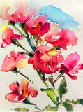 Abstract bright colored decorative background . Floral pattern handmade . Beautiful tender romantic bouquet of summer flowers , made in the technique of watercolors from nature.