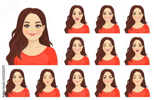 Fotografía Beautiful plus size woman with different facial expressions set isolated vector