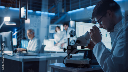 In Technology Research Laboratory: Diverse Team of Industrial Scientists, Engine Canvas Print