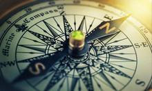 Old Compass. Macro Shot, Shall...