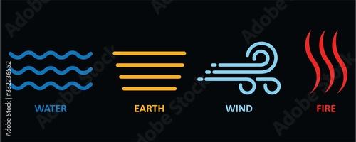 Obraz na płótnie Four elements icon logo with line style symbols