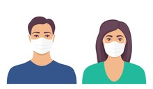 Man And Women With Protective Medical Mask On Face For Prevent Virus. People In Surgical Mask. Vector Illustration In Flat Style.