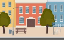 City Street With Houses Facades. Urban Landscape. City Buildings Along Wide Street With Trees, Bench, Street Lamp And Bicycle Parking. Vector Illustration In Flat Style.