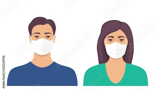 Man and women with protective medical mask on face for prevent virus Poster Mural XXL