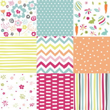 Spring, Easter Patterns. Vector Seamless Backgrounds.