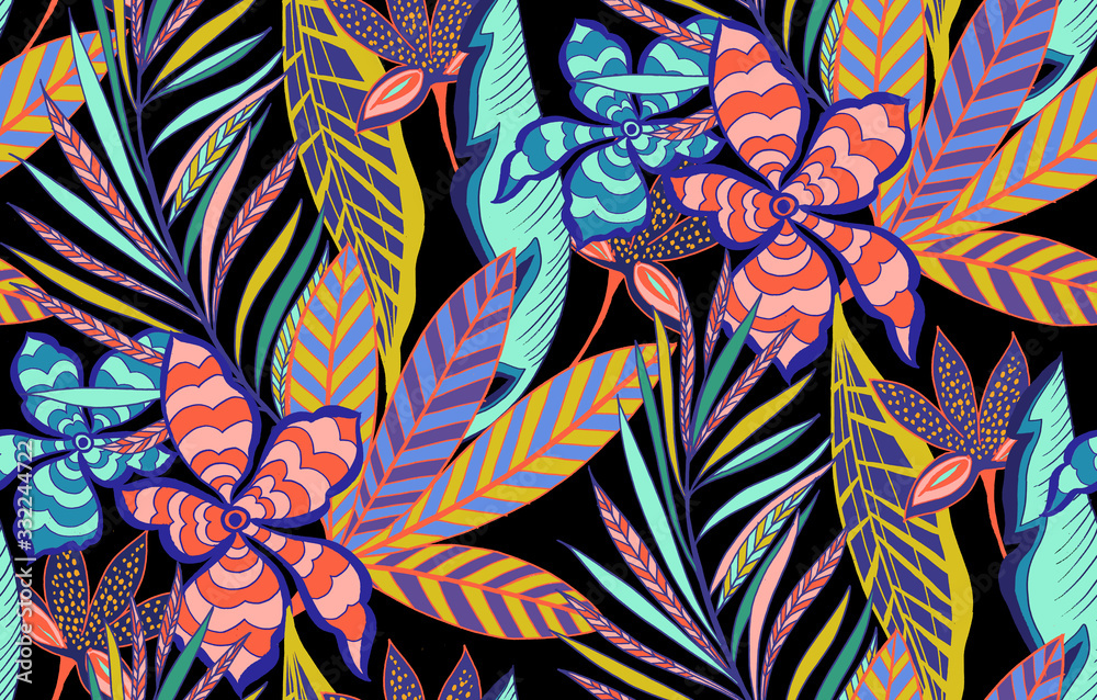 Seamless colored tropical flowers for textile; Retro Hawaiian style floral arrangement, vintage style with black background.