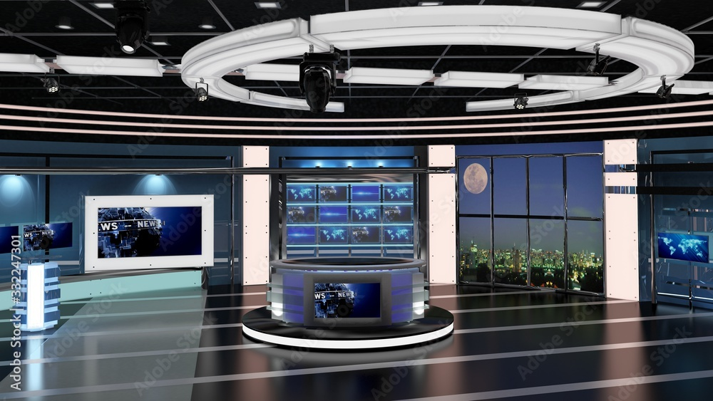 Fototapeta Virtual TV Studio News Set 27. 3d Rendering. Virtual set studio for chroma footage. wherever you want it, With a simple setup, a few square feet of space, and Virtual Set, you can transform any locati