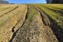 Water Erosion Of Grass Field Erosive Soil Damage