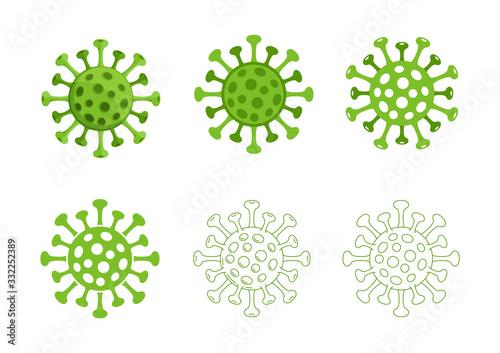 Obraz Corona Virus Covid 19 Icon Symbols Set Green Vector - fototapety do salonu