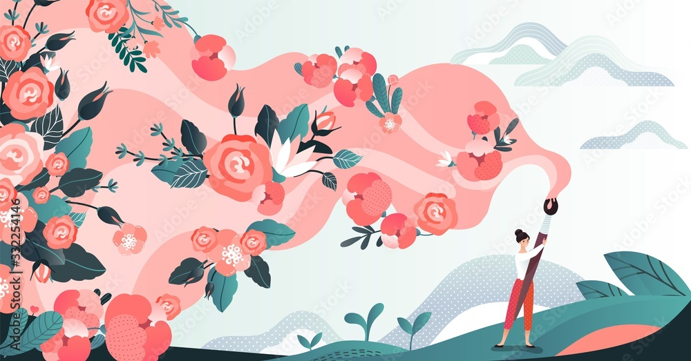 Fototapeta Character woman in field draw flower by brush, red blossom paint by female artist in grass place, flat vector illustration. Design for web banner, poster, postcard. Path of flowering.