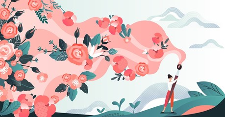 Character woman in field draw flower by brush, red blossom paint by female artist in grass place, flat vector illustration. Design for web banner, poster, postcard. Path of flowering.