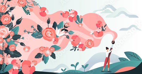 Obraz Character woman in field draw flower by brush, red blossom paint by female artist in grass place, flat vector illustration. Design for web banner, poster, postcard. Path of flowering. - fototapety do salonu