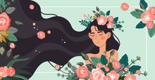 Character Woman Flower Hair, L...