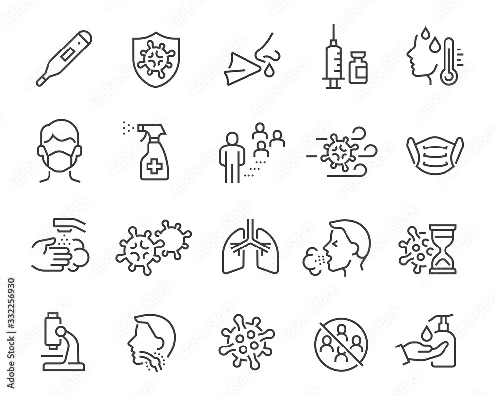 Fototapeta Flu icons set. Collection of linear simple web icons such as medical mask, flu virus, symptoms, treatment, prevention, antiseptic, coronavirus infection and other. Editable vector stroke.