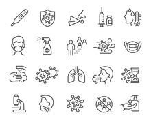 Flu Icons Set. Collection Of L...