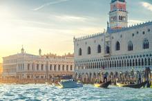 Venice Cityscape With Gondolas...