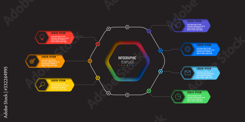 Fototapety, obrazy: business infographic template with seven realistic hexagonal elements with thin line icons on black background. modern diagram with geometric holes in paper. vector visualisation for presentations
