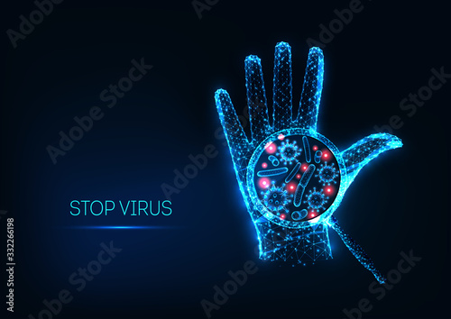 Obraz Futuristic stop coronavirus concept with glowing low polygonal human hand and virus cell - fototapety do salonu