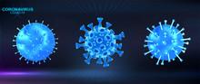 Blue 3D Microbe Coronavirus Ve...